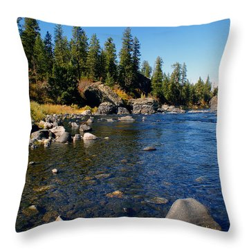 Throw Pillow featuring the photograph Peace On The Spokane River 2 by Ben Upham III