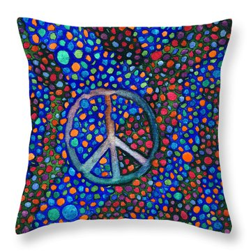 Throw Pillow featuring the painting Peace Sign by Janice Dunbar
