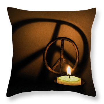 Peace Symbol Candle  Throw Pillow