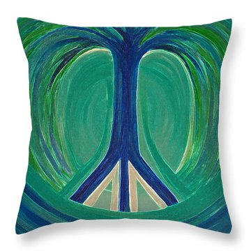 Peace Tree By Jrr Throw Pillow by First Star Art
