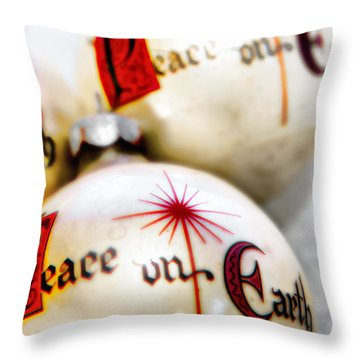 Throw Pillow featuring the photograph Antique Peace On Earth Christmas Decorations by Vizual Studio