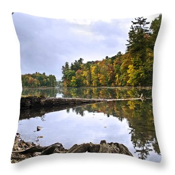 Peaceful Autumn Lake Throw Pillow by Christina Rollo