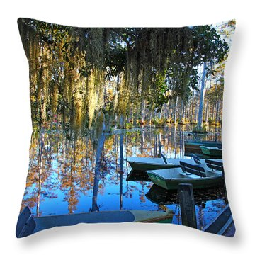 Peaceful Boat Landing By Jan Marvin Throw Pillow