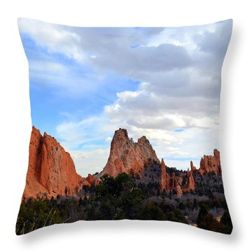 Throw Pillow featuring the photograph Peaceful Day In Garden Of The Gods by Clarice  Lakota