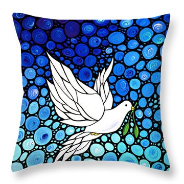 Peaceful Journey - White Dove Peace Art Throw Pillow by Sharon Cummings