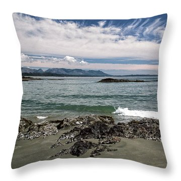 Peaceful Pacific Beach Throw Pillow by Richard Farrington