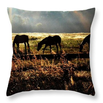 Peaceful Pasture Throw Pillow by Carlee Ojeda