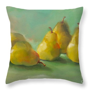Throw Pillow featuring the painting Peaceful Pears by Michelle Abrams