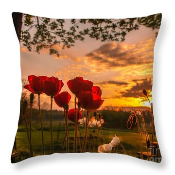 Peaceful Poppy Throw Pillow