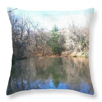 Throw Pillow featuring the painting Peaceful Retreat 2 by Sara  Raber