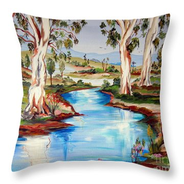 Peaceful River In The Australian Outback Throw Pillow