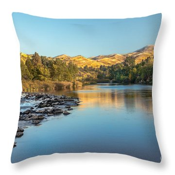 Peaceful River Throw Pillow by Robert Bales