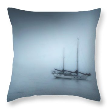 Peaceful Sailboat On A Foggy Morning From The Book My Ocean Throw Pillow