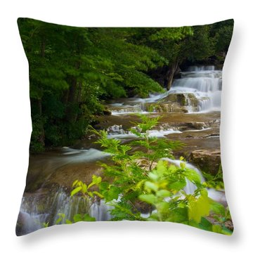 Throw Pillow featuring the photograph Peaceful Stockbridge Falls  by Dave Files