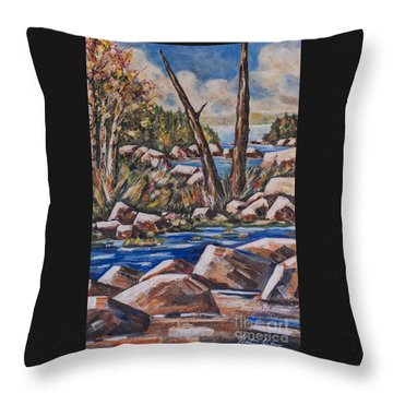 Peaceful Stream Throw Pillow by Heather Kertzer