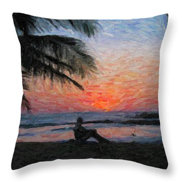 Peaceful Sunset Throw Pillow by David Gleeson