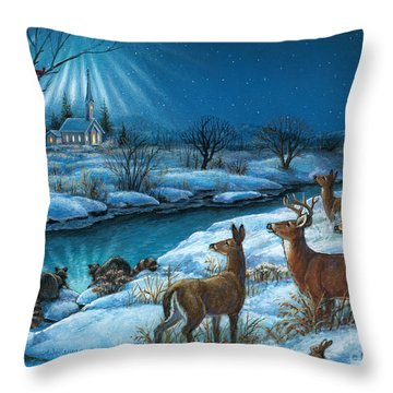 Peaceful Winters Night Throw Pillow