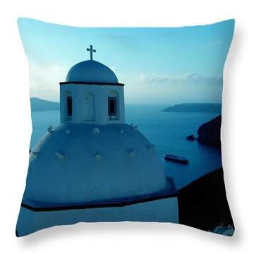 Peacefull Santorini Greek Island  Throw Pillow