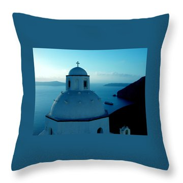 Peacefull Santorini Greek Island  Throw Pillow by Colette V Hera  Guggenheim