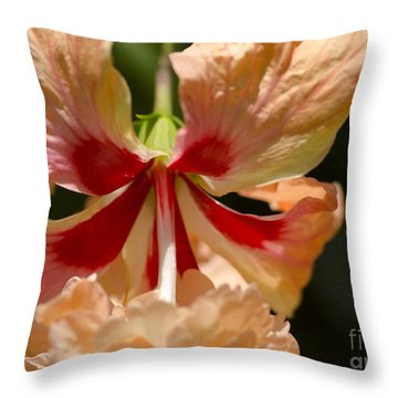 Peach And Red Flower Throw Pillow