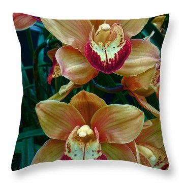 Peach And Red Orchids Throw Pillow