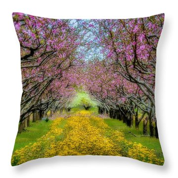 Peach Blossoms Dandelion Carpet Throw Pillow