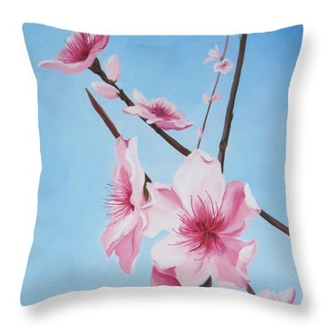 Peach Blossoms Throw Pillow by Mary Rogers