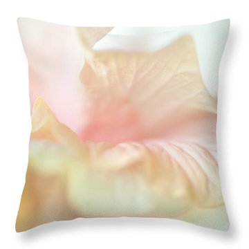 Peach Delicacy. Hibiscus Macro Throw Pillow by Jenny Rainbow