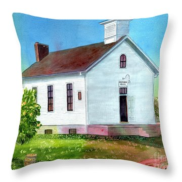 Peach Grove School Throw Pillow
