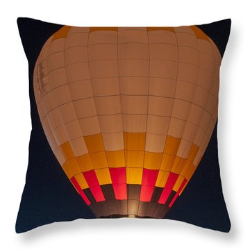 Peach Hot Air Balloon Night Glow Throw Pillow