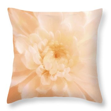 Peach Mum Luminous Painted Blossom Throw Pillow