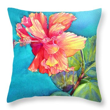 Peach Paradise Throw Pillow
