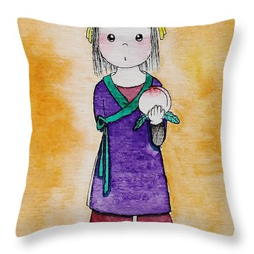 Girl And Peach Throw Pillow by Qian Chen
