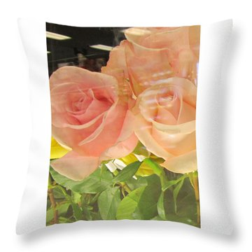 Peach Roses In Greeting Card Throw Pillow