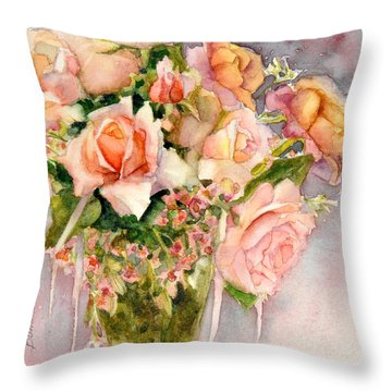 Throw Pillow featuring the painting Peach Roses In Vase by Bonnie Rinier