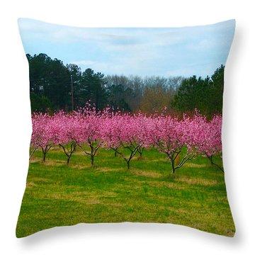 Peach Tree Grove By Jan Marvin Throw Pillow