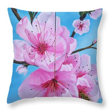 Throw Pillow featuring the painting Peach Tree In Bloom Diptych by Sharon Duguay