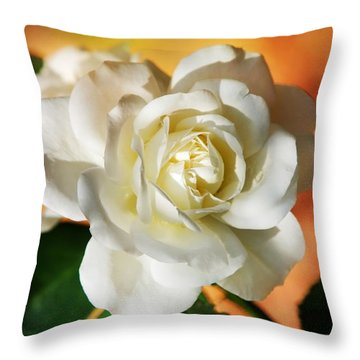 Peaches And Cream Throw Pillow by Christina Rollo