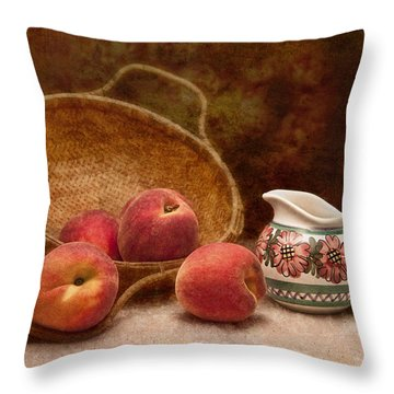 Peaches And Cream Still Life II Throw Pillow by Tom Mc Nemar