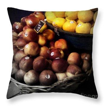 Peaches And Lemons Antique Throw Pillow by Miriam Danar