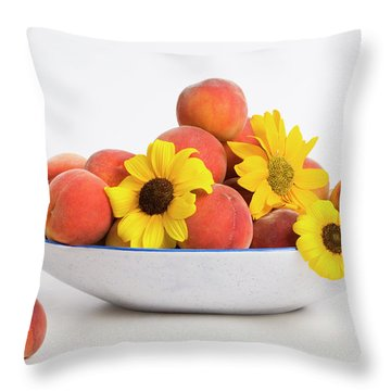 Peaches And Sunflowers Throw Pillow by Diane Macdonald