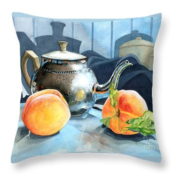 Peaches And Tea Throw Pillow by Barbara Jewell