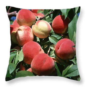 Peaches On Tree Throw Pillow by Lanjee Chee