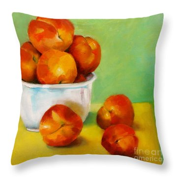Peachy Keen Throw Pillow by Michelle Abrams