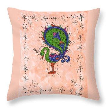 Peachy Peacock Throw Pillow