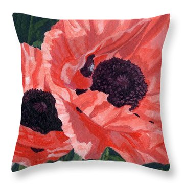 Throw Pillow featuring the painting Peachy Poppies by Lynne Reichhart