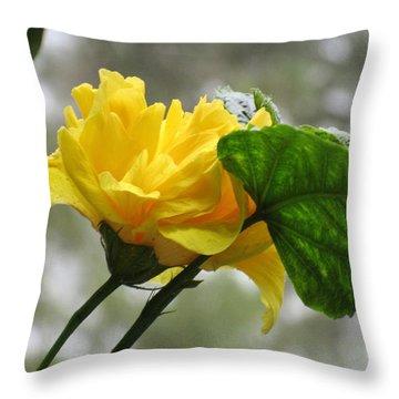 Peachy Yellow Surprise Throw Pillow