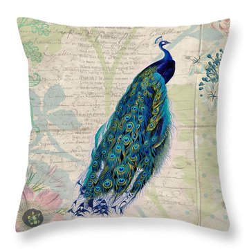 Peacock And Botanical Art Throw Pillow by Peggy Collins