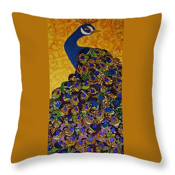 Throw Pillow featuring the tapestry - textile Peacock Blue by Apanaki Temitayo M