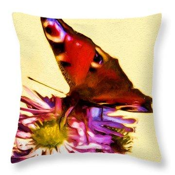 Throw Pillow featuring the digital art Peacock Butterfly by Daniel Janda